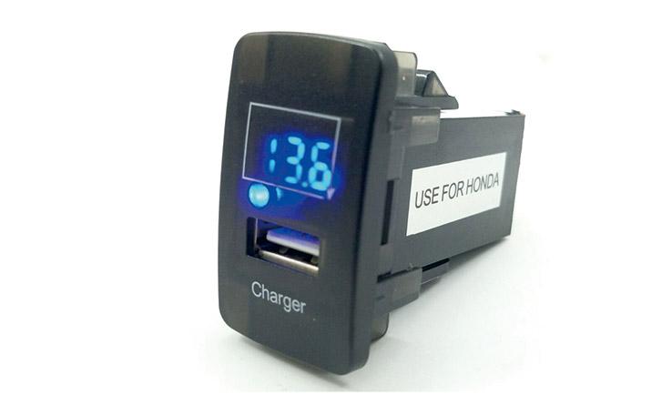 Car USB Charger & Adapter HONDA Charger+Digital Voltmeter