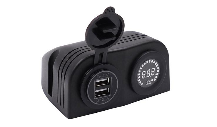 Refit car switch panel Input:DC12V Output:5V/4.2A  12/20A Voltage:5-15V